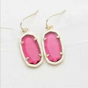 Kendra Scott Dani Gold Earrings With Berry Red